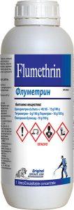 ФЛУМЕТРИН - за борба с летящи (мухи, комари) и пълзящи (хлебарки, мравки) насекоми в битови сгради, индустриални обекти